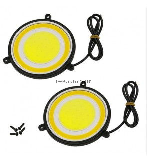 car styling Fog Lights Car Driving Daytime Running Lights 88mm Round COB LED DRL Waterproof White Amber Source Dual Color DC 12V