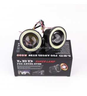 2PCS Universal 10W 2.5 3 3.5 Inch 64mm 76mm 89MM COB Car LED Fog Light Angel Eye Projector Lens Daytime DRL Run Lamp Kit